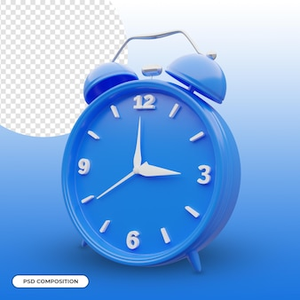 Blue alarm clock 3d icon isolated