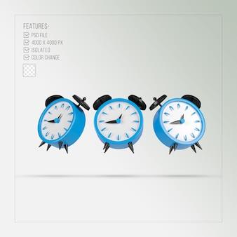 Blue alarm clock 3d rendering isolated Premium Psd