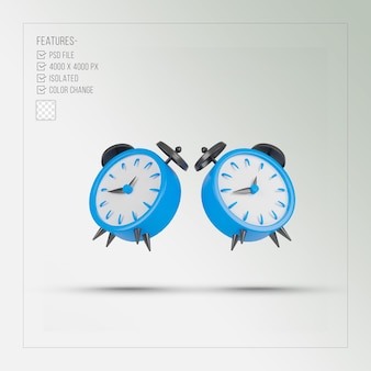 Blue alarm clock 3d rendering isolated