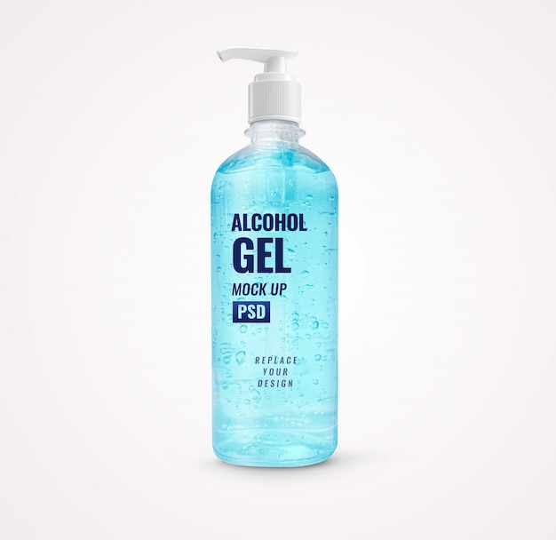 Blue alcohol gel bottle pump hand sanitizer mockup