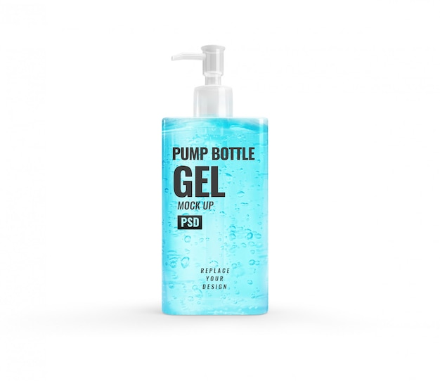 Blue alcohol gel modern bottle pump hand sanitizer mockup