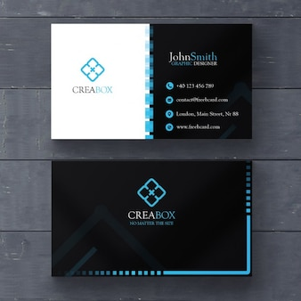 Blue and black geometric card