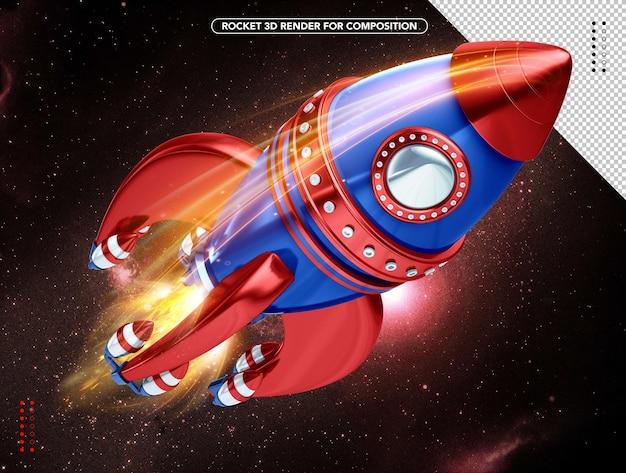 파란색과 빨간색 현실적인 3d 로켓 오버 헤드 비행