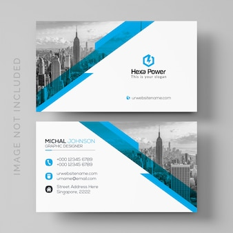 Blue and white business card mockup with image