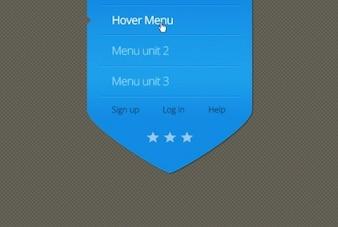 Blue arrow menu with hover effect