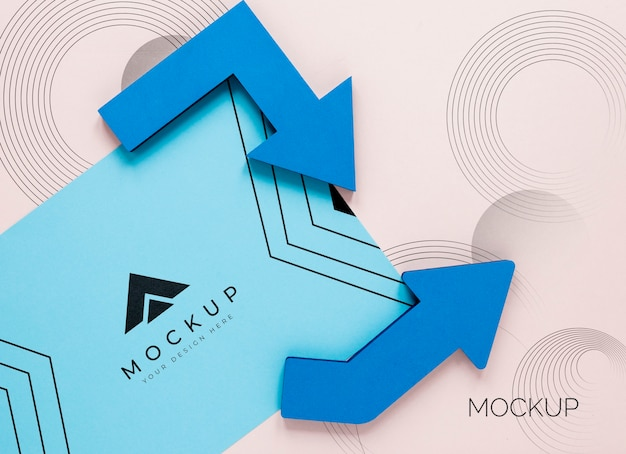 Blue arrows and business mock-up card