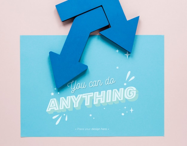 Blue arrows with you can do anything lettering