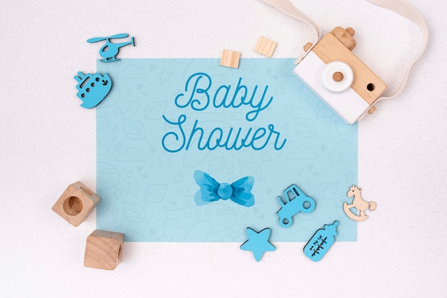 Blue baby shower decorations with camera