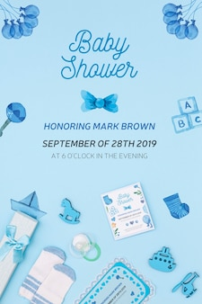 Blue baby shower invitation with decorations
