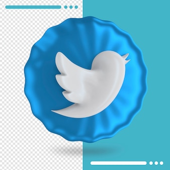 Blue balloon and logo of twitter 3d rendering