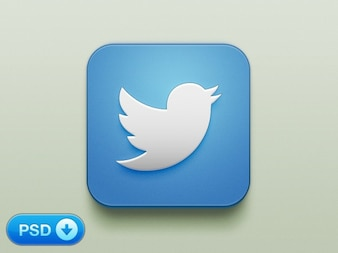 Blue bird twitter icon PSD