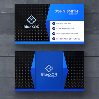 Blue and black modern business card