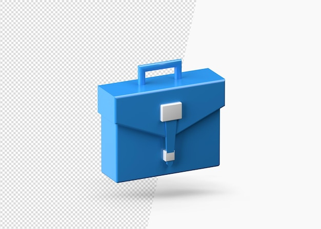 Blue briefcase or business bag 3d rendering isolated
