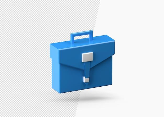 Синий портфель или бизнес-сумка 3d-рендеринг изолированы