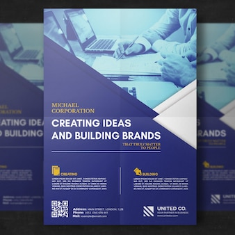 Blue business brochure mockup