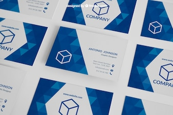 Blue business card mockup