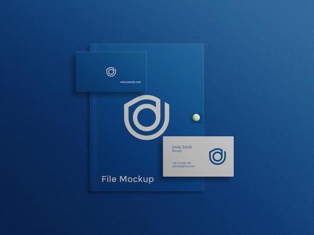 ファイルpsdモックアップの青い名刺