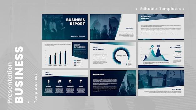 青いビジネスプレゼンテーションベクトル編集可能なテンプレート