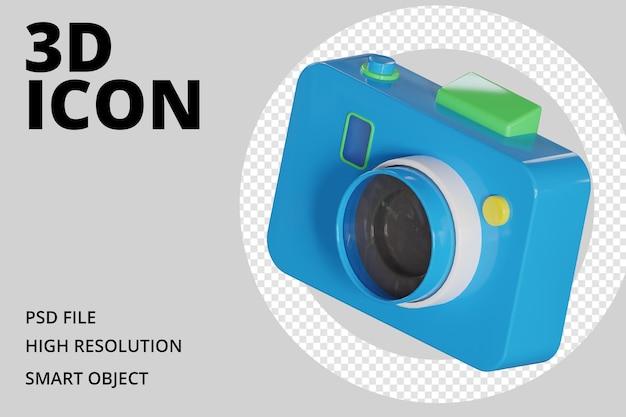 Значок голубой камеры 3d