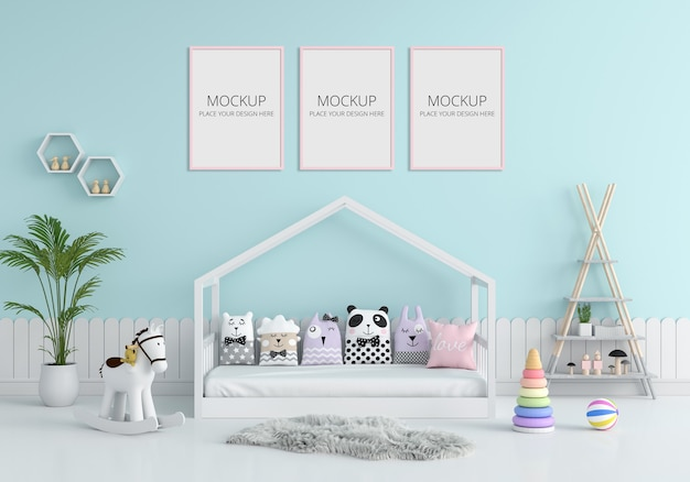 Blue child bedroom interior for mockup