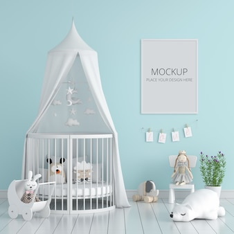 Blue child bedroom with frame mockup