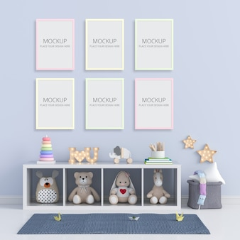 Blue child room with frame mockup