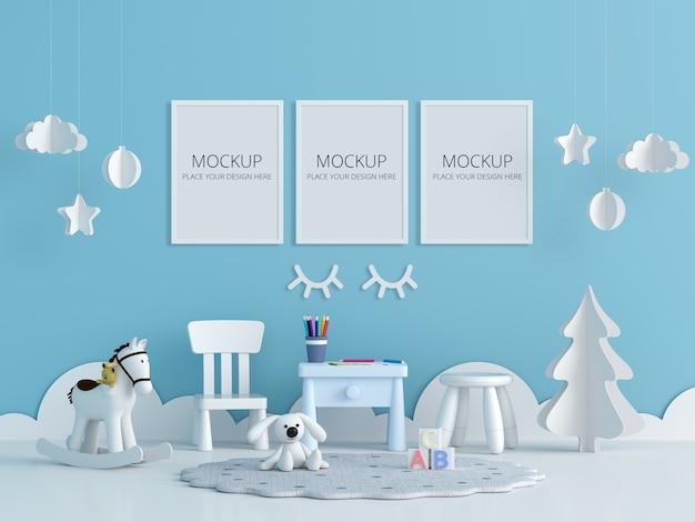프레임 모형이있는 파란색 어린이 방