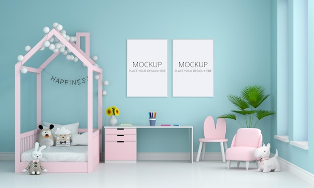 Blue children bedroom interior with frame mockup