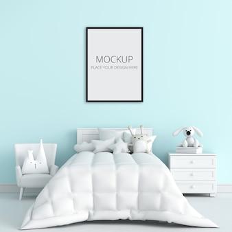 Синяя детская спальня с рамным макетом