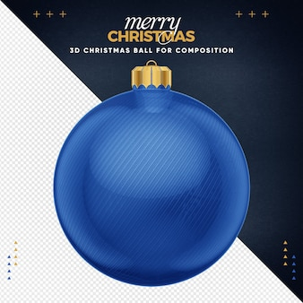 Blue christmas ball for composition Premium Psd