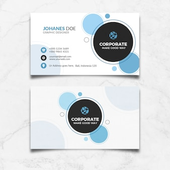 Blue circle business card