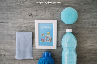 Blue cleaning mockup with frame