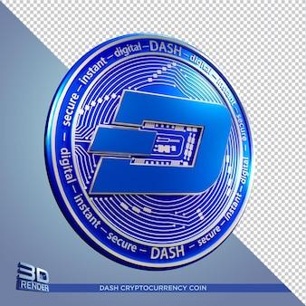 Синие монеты тире криптовалюты 3d рендеринга изолированные