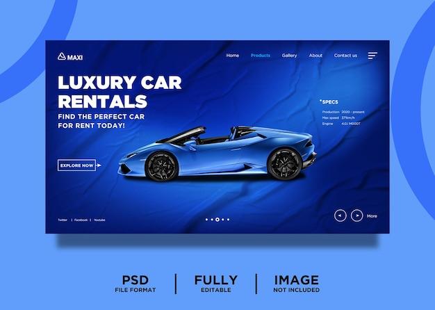 Шаблон концепции дизайна целевой страницы автомобильной компании синего цвета