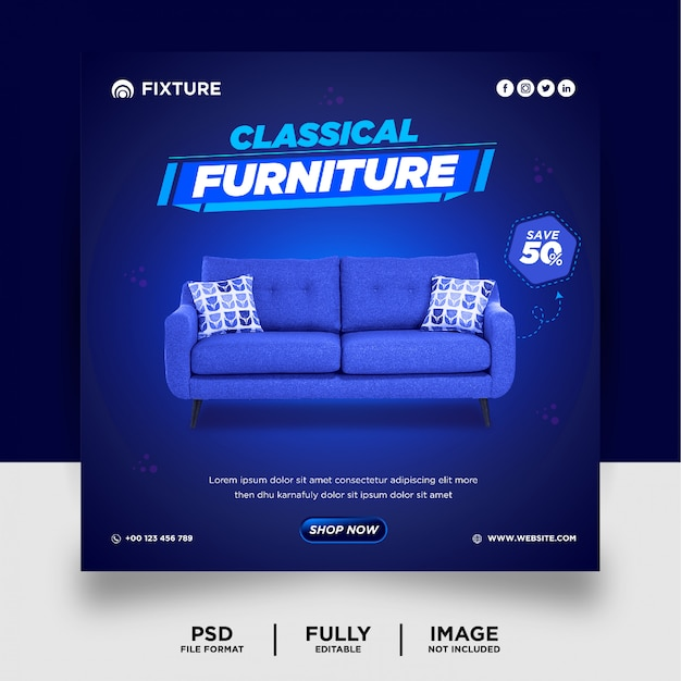 Blue color exclusive furniture product social media post banner