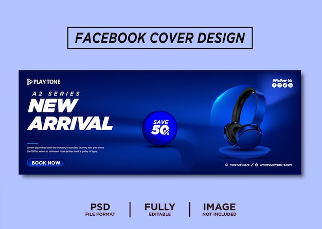 Blue color headhphone brand facebook cover template