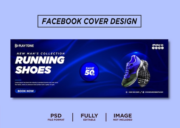Blue color running shoes brand facebook cover template