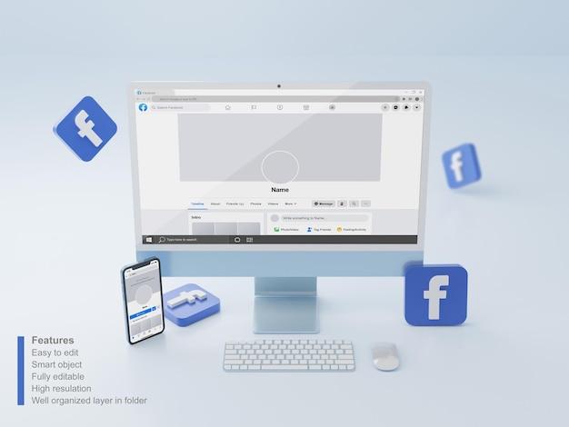 Макет экрана рабочего стола синего цвета и экрана смартфона с редактируемым профилем facebook psd