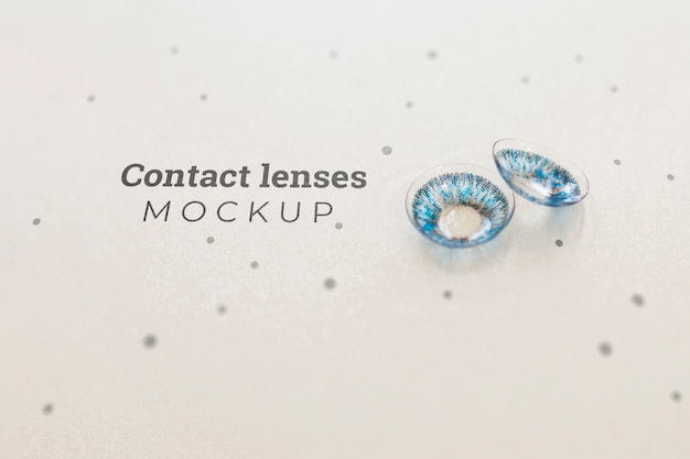 Blue contact lenses mock-up