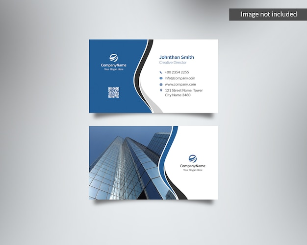 Blue corporate business card with image