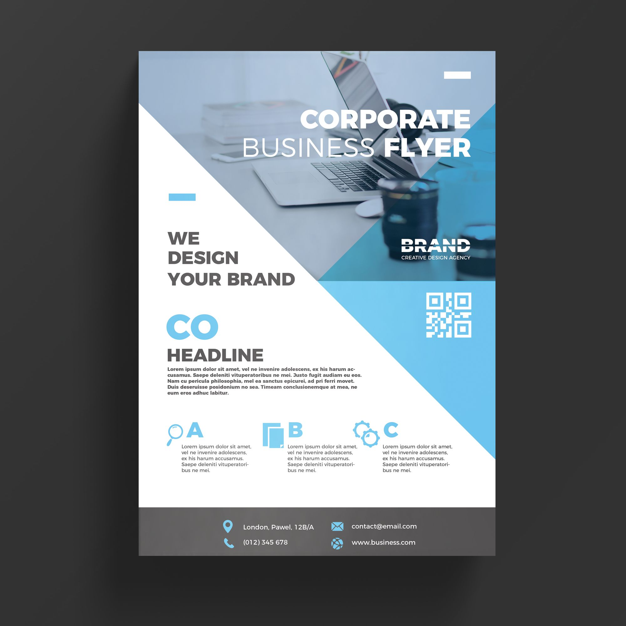 Blue corporate business flyer template