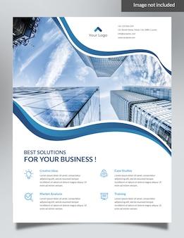 Blue corporate flyer - waves background design