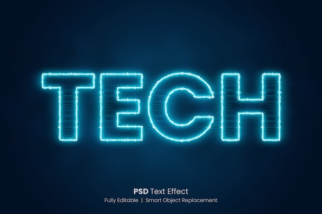 Blue electricity text effect