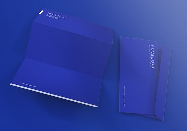 Blue envelope with letterhead mockup