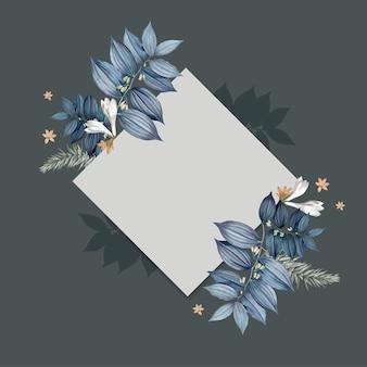青い花柄空白の正方形のカードデザイン