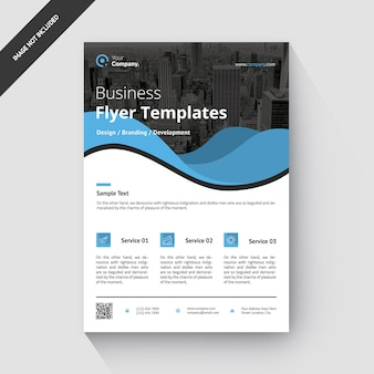 Бизнес креативный корпоративный шаблон blue flyer