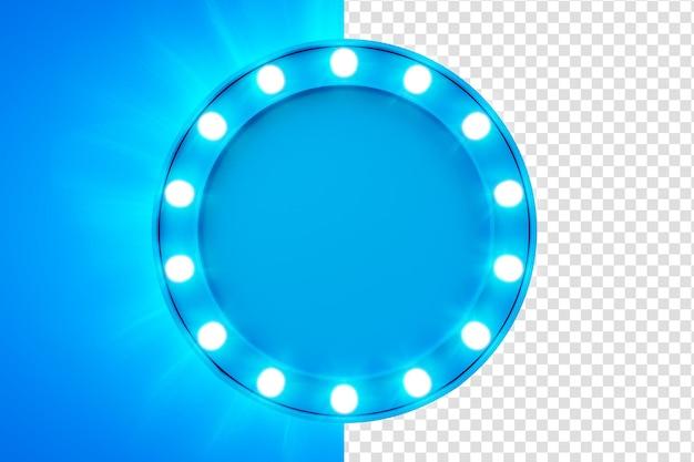 Blue frame 3d render with lights for composition