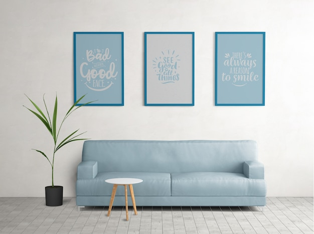 Blue framed posters in living room