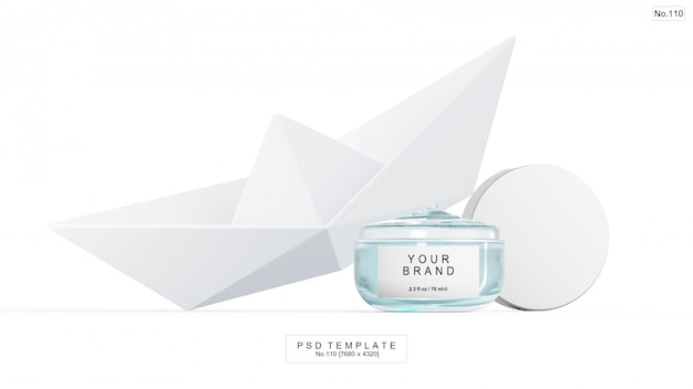 Blue gel beauty product with paper boat. 3d render