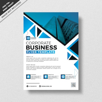 Blue geometry triangular corporate business flyer design